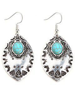 Faux Turquoise Bohemian Leaf Hook Earrings - Silver
