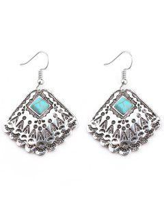 Faux Turquoise Bohemian Hook Earrings - Silver