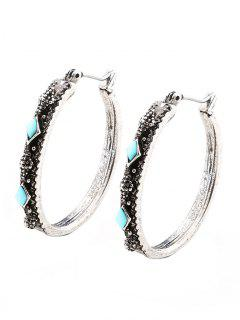 Faux Turquoise Vintage Geometric Hoop Earrings - Silver
