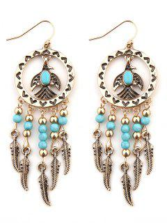Faux Turquoise Beaded Tassel Bird Feather Earrings - Golden