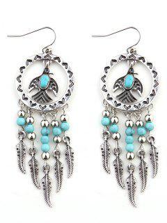 Faux Turquoise Beaded Tassel Bird Feather Earrings - Silver