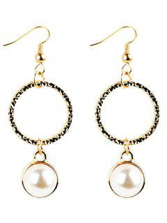 Faux Pearl Decorated Metal Round Shape Drop Earrings - Golden