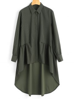 Longline High Low Checked Shirt - Checked L