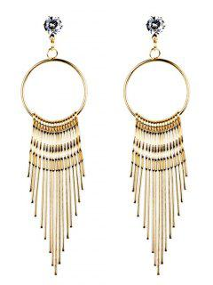 Crystal Embellished Metal Long Tassel Dangle Earrings - Golden