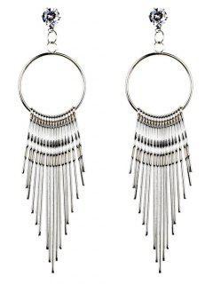 Crystal Embellished Metal Long Tassel Dangle Earrings - Silver
