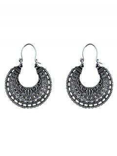 U Shape Coin Decorated Ethnic Style Earrings - Silver
