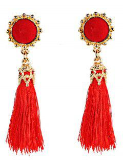 Vintage Boho Style Long Tassel Dangle Earrings - Red