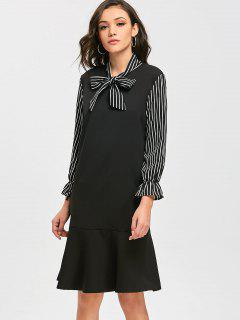 Striped Bow Tie Dress - Black S