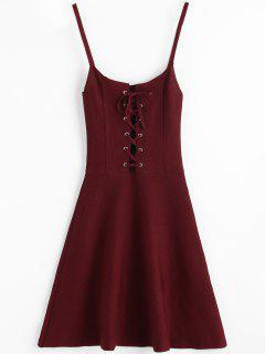 Lace-up Knitted Slip Dress - Wine Red