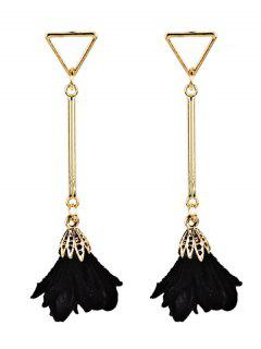 Rose Shape Embellished Tassel Dangle Earrings - Black