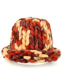 Soft Round Top Thicken Crochet Knitted Beanie - Bright Red Orange