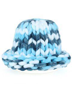 Soft Round Top Thicken Crochet Knitted Beanie - Blue
