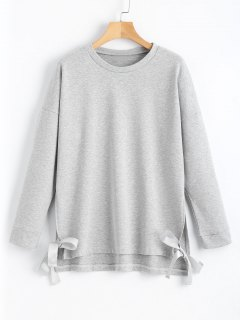 Loose Bow Tied Slit Sweatshirt - Gray L