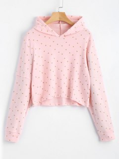 Cropped Shiny Star Hoodie - Pink S