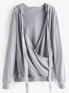 Plunging Neck Plain Drawstring Hoodie - Gray S