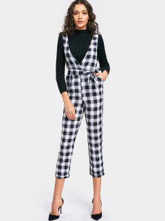 Plaid Capri Overalls With Belt - White And Black M