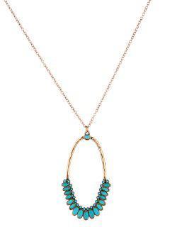 Faux Turquoise Oval Bohemian Pendant Necklace - Golden