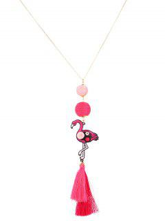 Collier Boule De Strass Flamingo Tassel - Or