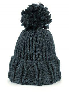 Fuzzy Ball Embellished Straight Needle Thicken Beanie - Deep Gray
