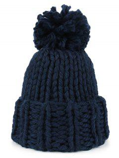 Fuzzy Ball Embellished Straight Needle Thicken Beanie - Cadetblue