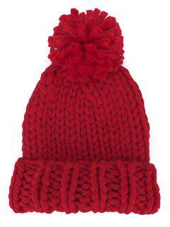 Fuzzy Ball Embellished Straight Needle Thicken Beanie - Red