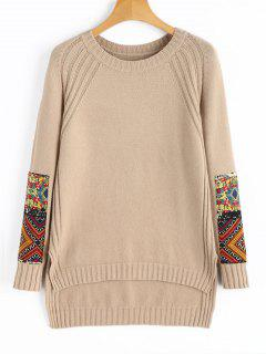 Patched High Low Pullover Sweater - Khaki