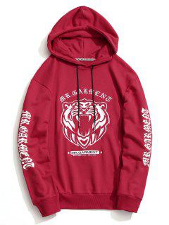 Pullover Embroidered Hoodie - Red Xl
