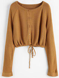 Button Up Crop Cardigan - Light Brown