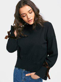 Suede Lace Up Sleeve Ruffle Neck Sweater - Black