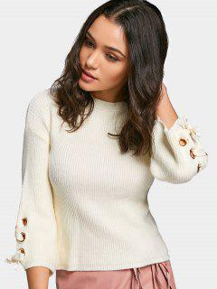 Lace Up Sleeve Drop Shoulder Sweater - Off-white