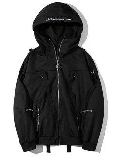 Hooded Zip Up Utility Jacket - Black L
