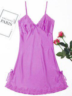 Laced Satin Slip Babydoll - Light Purple 2xl