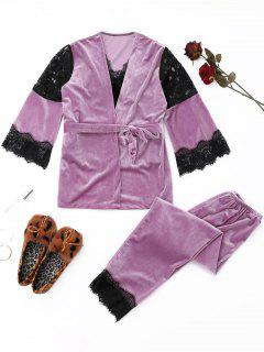 Lace Panel Velvet Pyjama Set - Lila M