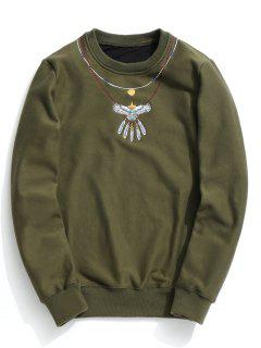 Crew Neck Flocking Embroidered Sweatshirt - Army Green M