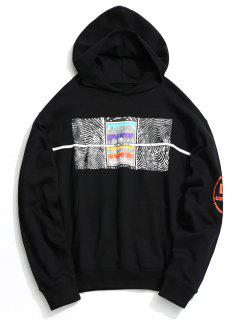 Front Pocket Abstract Print Hoodie - Black M