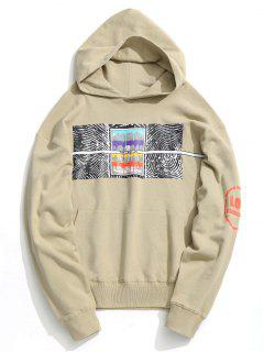 Front Pocket Abstract Print Hoodie - Apricot L