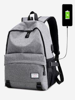 Badge USB Charging Port Backpack - Gray