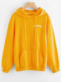 Letter Graphic Kangaroo Pocket Hoodie - Yellow M