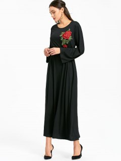 Flower Patched Long Sleeve Belted Maxi Dress - Black Xl