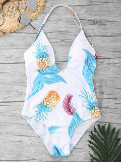 Crisscross Pineapple Print One Piece Swimsuit - White M