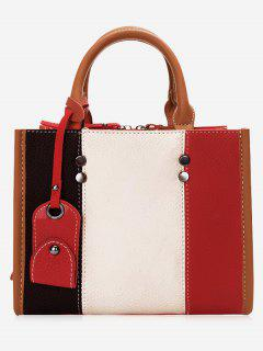 Striped Color Block Handbag With Strap - Off-white