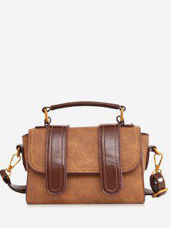 Stitching Color Block Handbag - Brown