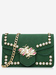 Faux Pearl Rhinestone Insect Crossbody Bag - Green