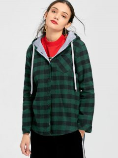 Button Up Checked Pocket Hoodie - Checked Xl