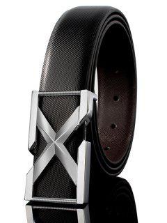 Cinturón Ancho De Cuero De PU Embellecido De Hebilla De Metal De Letra 3D - Blanco + Negro + Argénteo 120cm