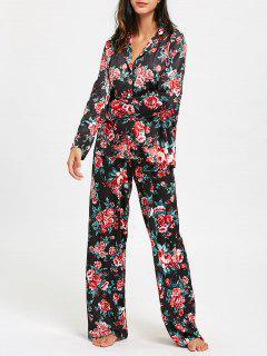 Long Sleeve Floral Print Pajama Set - S