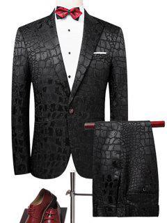 One Button Phyton Blazer Suit - Black M