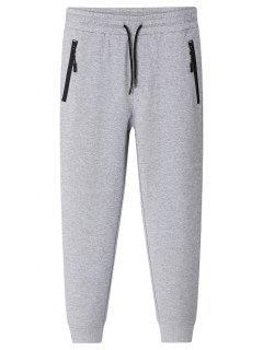 Zipper Pocket Jogger Pants - Gray 4xl