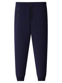 Pantalones Jogger De Bolsillo Con Cremallera - Azul Marino  Xl