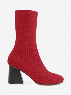 Block Heel Ankle Boots - Red 38